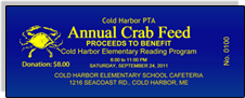 Cold Harbor PTA - Annual Crab Feed - Proceeds to Benefit Cold Harbor Elementary Reading Program - Dark Blue Sample Ticket