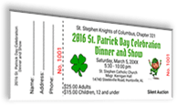 St. Stephen Knights of Columbus, Chapter 321 - 2016 St. Patrick's Day Celebration Dinner and Show - Sample Ticket
