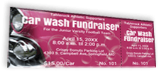 Car Wash Fundraiser - Maroon Colored Sample Ticket