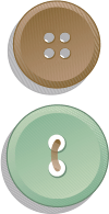 Three Buttons Colored Pale Red, Pale Brown, and Pale Green