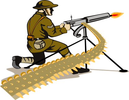 Soldier Firing a Machine Gun with Ammunition Belt