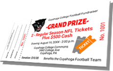 Grand Prize - 2 Regular Season NFL Tickets Plus $500 Cash - Sample Ticket
