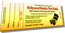 Hollywood Studios Park Raffle - Win a Set of 4 One Day VIP Passes - Sample Ticket