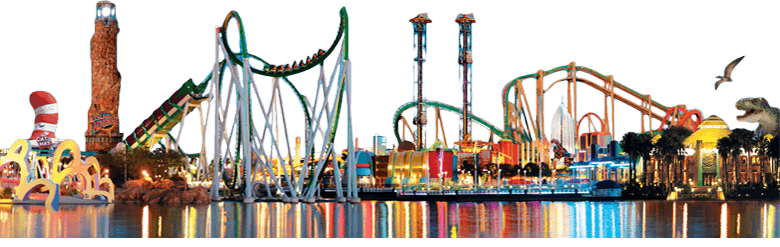 Amusement Park with Roller Coasters and Other Rides