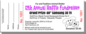 Fur and Feathers Animal Shelter - 12th Annual Raffle Fundraiser - Grand Prize: 60-inch Samsung 3D TV - Sample Ticket