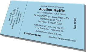National Auto-Club Presents - Auction Raffle - 2012 Fundraising For a Cause - Grand Prize: 54-inch Sony Plasma TV - Sample Ticket