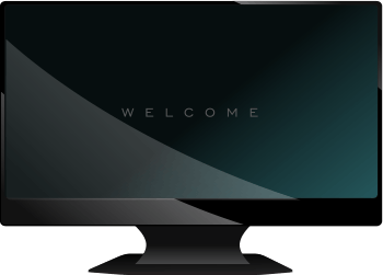 Wide-Screen HDTV Television with 'Welcome' on the Display