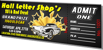 Hall Letter Shop's 2016 Rod Event - Grand Prize 1960 Old Car - Black Sample Ticket