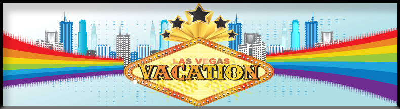Las Vegas Vacation Sign with Stars, Skyscrapers, and Rainbows - Background Image