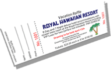 Royal Hawaiian Resort - Vacation Raffle - Sample Ticket