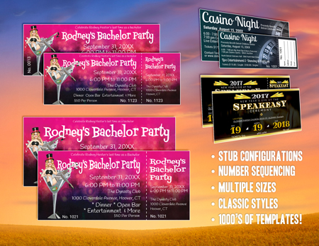 Stag and Bachelor Party Night Ticket Templates with print options