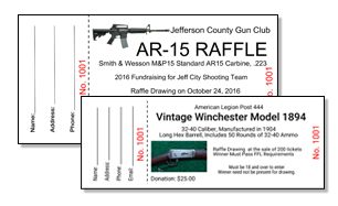 Gun Raffle Tickets for Events and Shows!