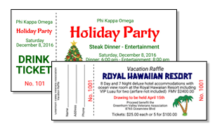 Fundraising Tickets for Vacation Raffles and Holidays!
