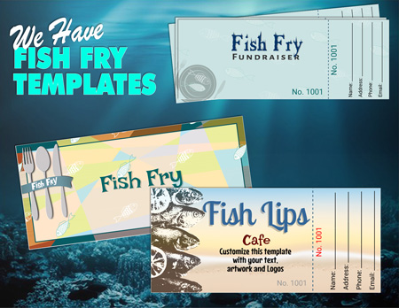 Fish Fry fundraiser Ticket Printing - Free templated designs for online editing