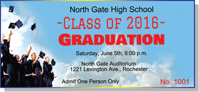 Graduation Tickets with Cap Toss in Gowns
