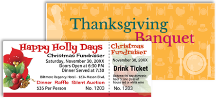 Raffle and fundraiser templates for christmas and thanksgiving holiday events