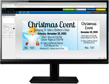 Create christmas-themed tickets with our easy-to-use online ticket editor!