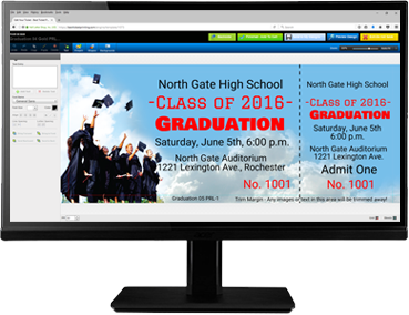 Create graduation-themed tickets with our easy-to-use online ticket editor!